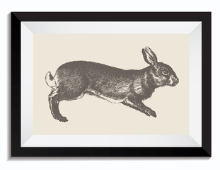 Vintage Retro Vector Drawing Illustration of an Easter Bunny in a Frame