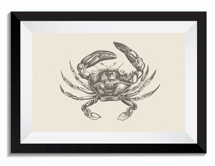 Nautical Vintage Retro Vector Illustration of a Crab in a Frame