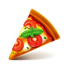 Margarita pizza slice isolated on white vector