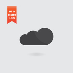 Cloud icon in flat style isolated on grey background.