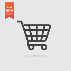 Shopping cart icon in flat style isolated on grey background.