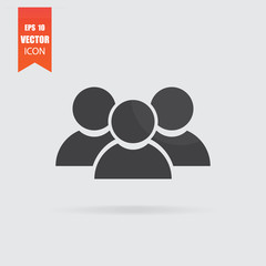 Users icon in flat style isolated on grey background.
