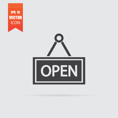Open icon in flat style isolated on grey background.