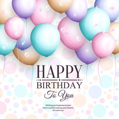 Happy birthday greeting card. Retro vintage pastel party balloons, streamers, and stylish lettering. Vector.