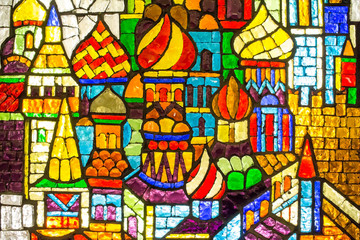 Stained glass at the `Trubnaya` Metro station. Moscow