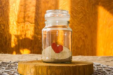 kompozycja walentynki czerwone serce w słoiku zamknięte, Valentines Day Decoration