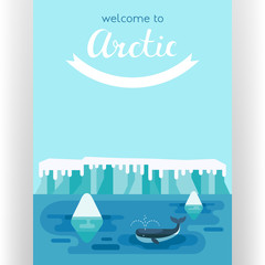 Whale swimming between icebergs poster template