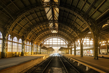 Vitebsky railway station during sunset