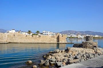 View of the Kales Venetian fortress at the entrance to the harbour, Ierapetra, Crete.