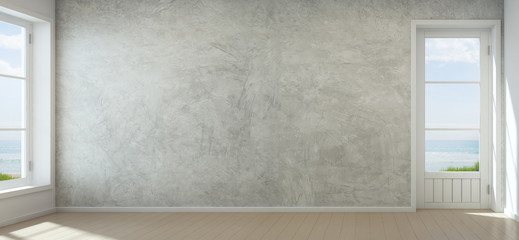 Wall Mural - Sea view room with concrete wall in modern beach house, Empty interior of new home - 3D rendering