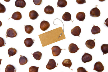chestnuts pattern on white with blank label top view isolated and background