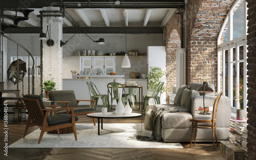 vintage style loft downtown apartment industrie altbau loft wohnung zdj stockowych i. Black Bedroom Furniture Sets. Home Design Ideas