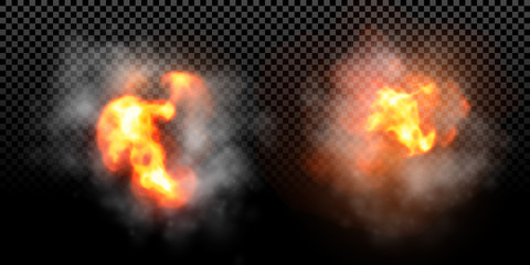 Vector fire flame explosion effect on black background