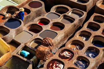 Leather dying in a traditional tannery in Fes, Morocco
