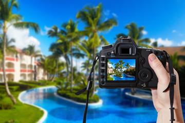 Reflex camera and tropical resort