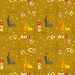 seamless pattern with Easter rabbits