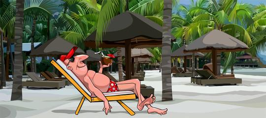 cartoon man resting in a sun lounger on the beach