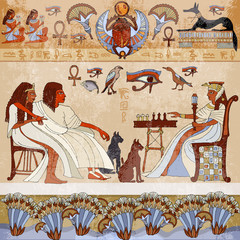 Murals ancient Egypt.scene. Egyptian gods and pharaohs