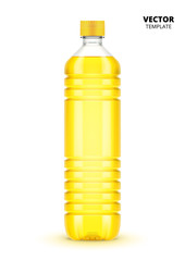 Vegetable oil bottle vector isolated on white background. Plastic bottle mockup for design presentation ads.