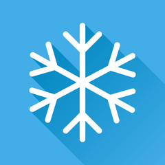 Snowflake icon vector illustration in flat style isolated on blue background with long shadow. Winter symbol for web site design, logo, app, ui.