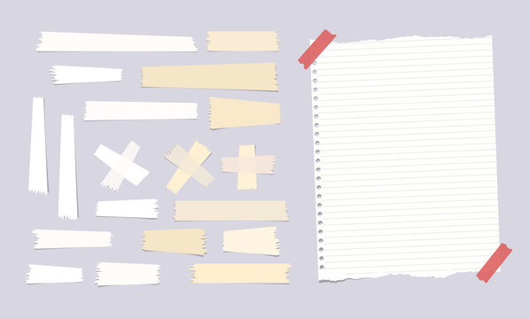 Sticky, adhesive masking tape, ripped note, notebook, copybook paper sheet on gray background