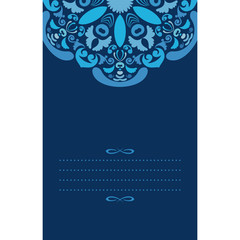 Ornate blue background for vertical card template.
