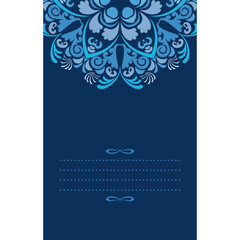 Vertical card template with abstract pattern in blue colors.