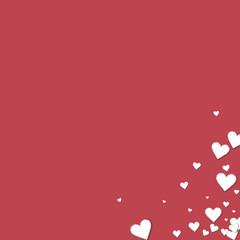 Beautiful paper hearts. Messy bottom right corner on crimson background. Vector illustration.