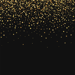Gold confetti. Scatter top gradient on black background. Vector illustration.