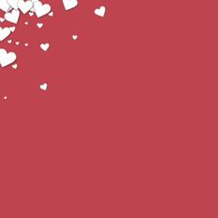 Beautiful paper hearts. Left right corner on crimson background. Vector illustration.