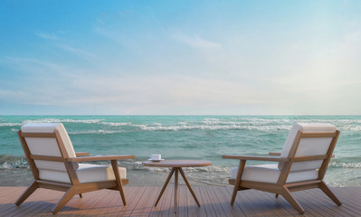 Sea side terrace and living area 3d rendering image,,A place surrounded by the sea ,There are wood floor and  furniture