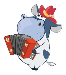 Deurstickers Babykamer Illustration of a Cute Cow Accordion Player. Cartoon Character