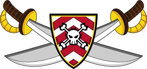 Cartoon Pirate Swords and Skull and Crossbones Shield