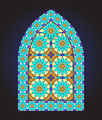Ancient stained glass ornamental window