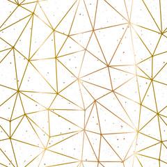 Geometric polygonal background. Golden pattern and splash on a white background. Vector illustration.
