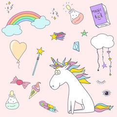 cute magic collection with unicorn, rainbow, magic wand