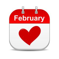 february 14 valentines day calendar icon