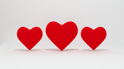 3d three valentine's heart for background