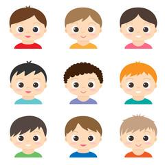 Set of vector cute boys