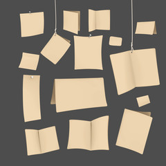 set of blank recycled paper