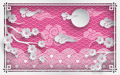 Vector illustration of branch of cherry blossoms on pink outdoor background with clouds and sun, oriental vintage pattern frame for chinese new year greeting card, paper cut out style