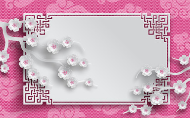 Vector illustration of branches cherry blossoms, clouds on pink background, oriental vintage pattern frame for chinese new year greeting card, paper cut out style