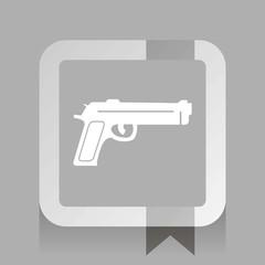 gun. white vector icon