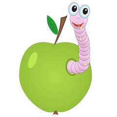 funny worm crawled out of the ground on the lawn. vector illustration