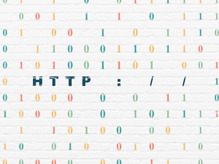 Web development concept: Http : / / on wall background