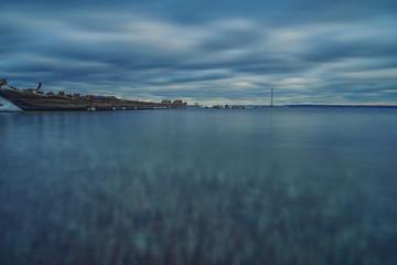 Beautiful long exposure landscape with frozen baltic sea