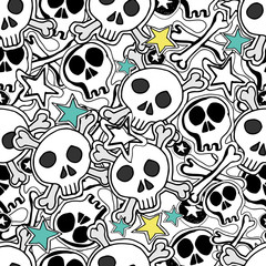 Skulls and bones. Vector seamless pattern. Hand drawn illustrati