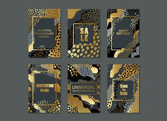 Set of universal cards and background with hand drawn textures. For banner, poster, invitation, brochure, flyer.