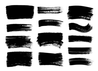 Set of hand drawn black paint, ink brush strokes, brushes, lines. Dirty grunge design elements, boxes, frames for text.