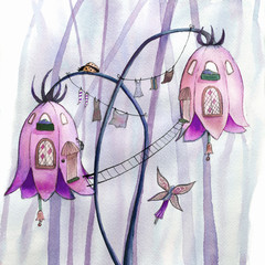 Fairies flowers houses. Watercolor illustration.